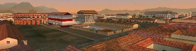 A landscape view of the reconstructed Poseidonia-Paestum. The builts Amphitheatrum, Forum, Comitium and some Templa are visible.